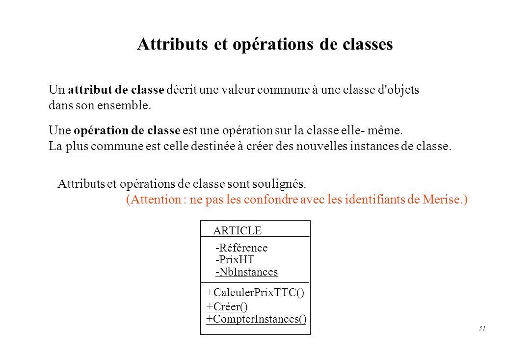 51 Un attribut de classe décrit une valeur commune à une classe d'objets dans son ensemble. Une opération de classe est une opération sur la classe el