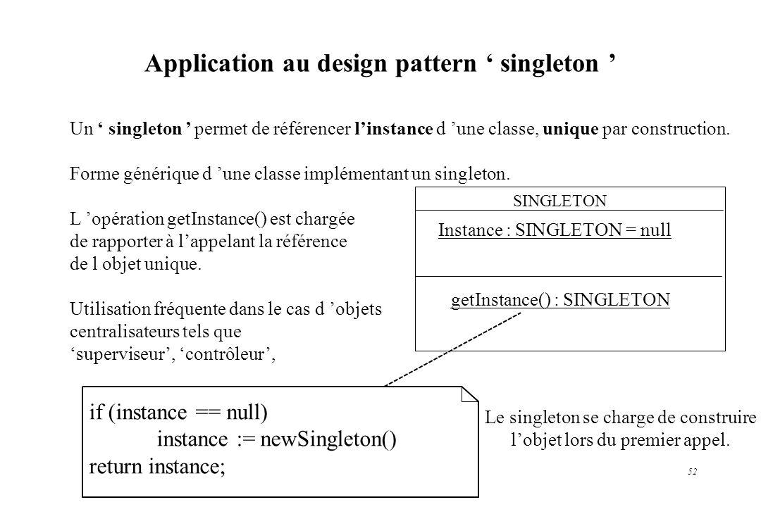 52 Un singleton permet de référencer linstance d une classe, unique par construction. Forme générique d une classe implémentant un singleton. L opérat