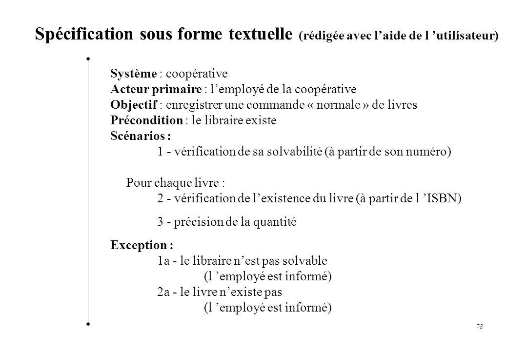 78 Spécification sous forme textuelle (rédigée avec laide de l utilisateur) Système : coopérative Acteur primaire : lemployé de la coopérative Objecti