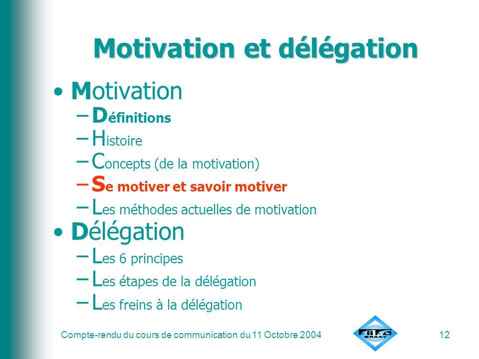 Compte-rendu du cours de communication du 11 Octobre 200412 Motivation et délégation Motivation –D éfinitions –H istoire –C oncepts (de la motivation)