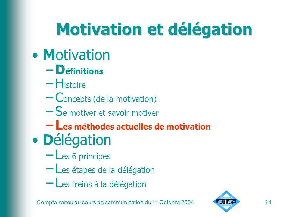 Compte-rendu du cours de communication du 11 Octobre 200414 Motivation et délégation Motivation –D éfinitions –H istoire –C oncepts (de la motivation)