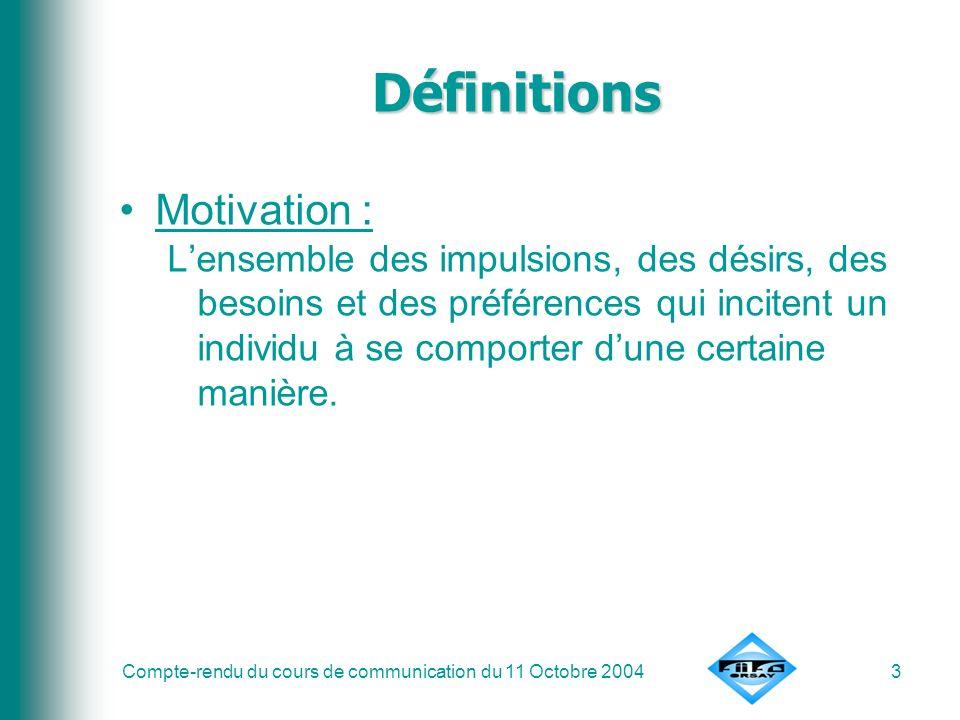 Compte-rendu du cours de communication du 11 Octobre 20044 Définitions Un besoin –> comportement pour combler ce besoin –> satisfaction –> apparition dun autre besoin BESOIN ACTION COMPORTEMENTSATISFACTION