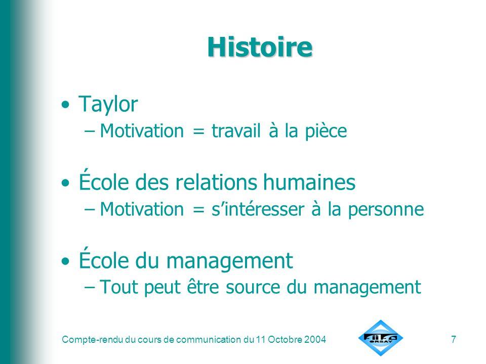 Compte-rendu du cours de communication du 11 Octobre 20047 Histoire Taylor –Motivation = travail à la pièce École des relations humaines –Motivation =