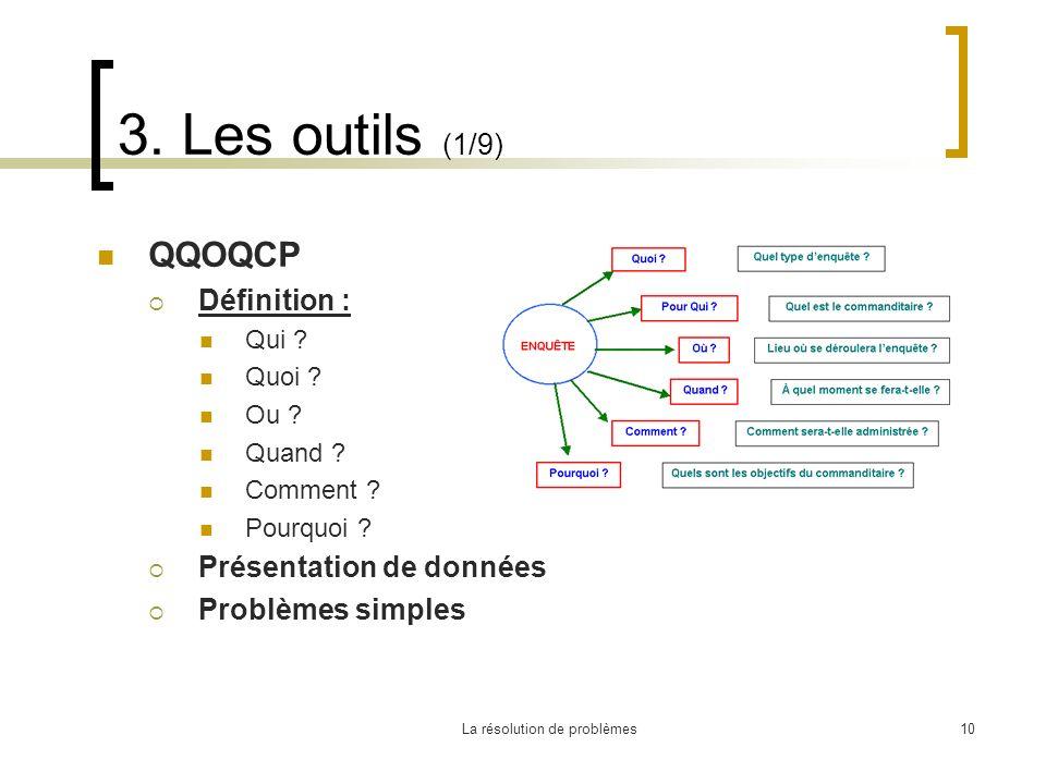 La résolution de problèmes10 3. Les outils (1/9) QQOQCP Définition : Qui ? Quoi ? Ou ? Quand ? Comment ? Pourquoi ? Présentation de données Problèmes
