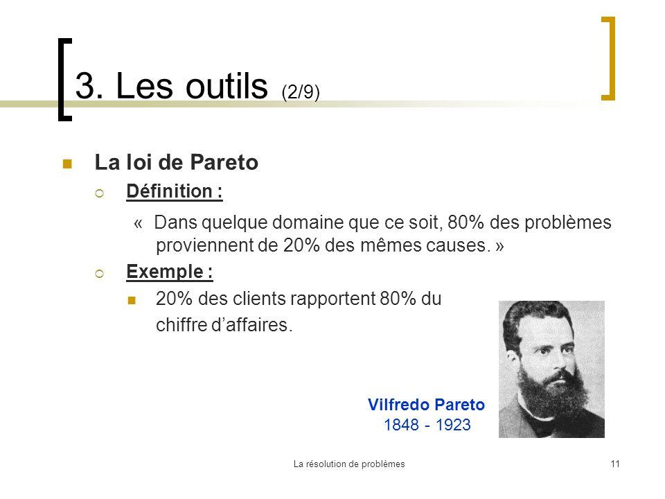 La résolution de problèmes11 3. Les outils (2/9) La loi de Pareto Définition : « Dans quelque domaine que ce soit, 80% des problèmes proviennent de 20