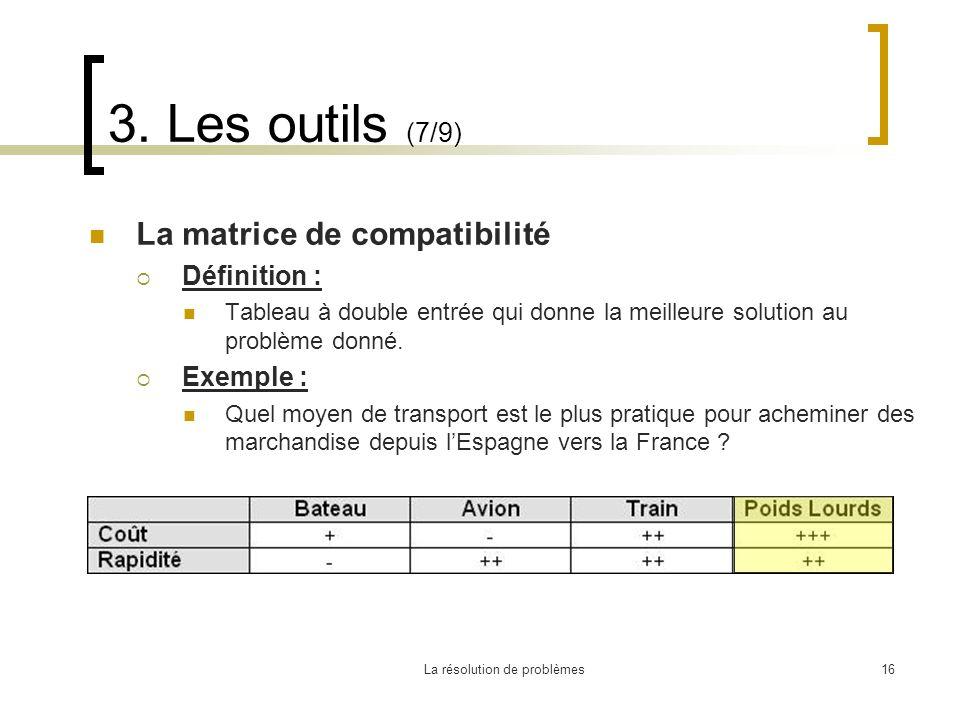 La résolution de problèmes16 3. Les outils (7/9) La matrice de compatibilité Définition : Tableau à double entrée qui donne la meilleure solution au p
