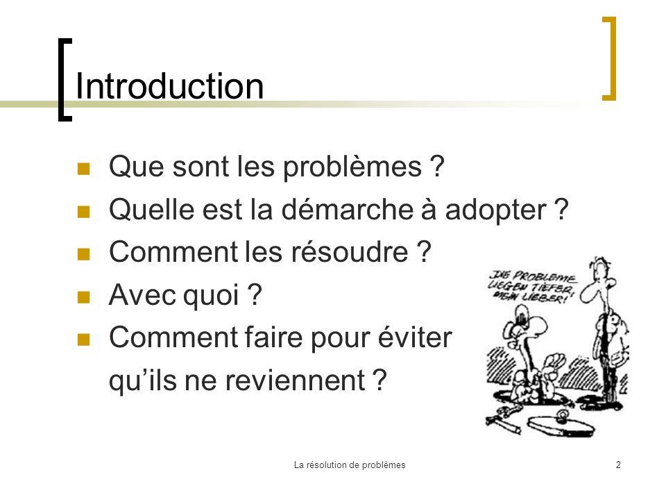 La résolution de problèmes2 Introduction Que sont les problèmes ? Quelle est la démarche à adopter ? Comment les résoudre ? Avec quoi ? Comment faire