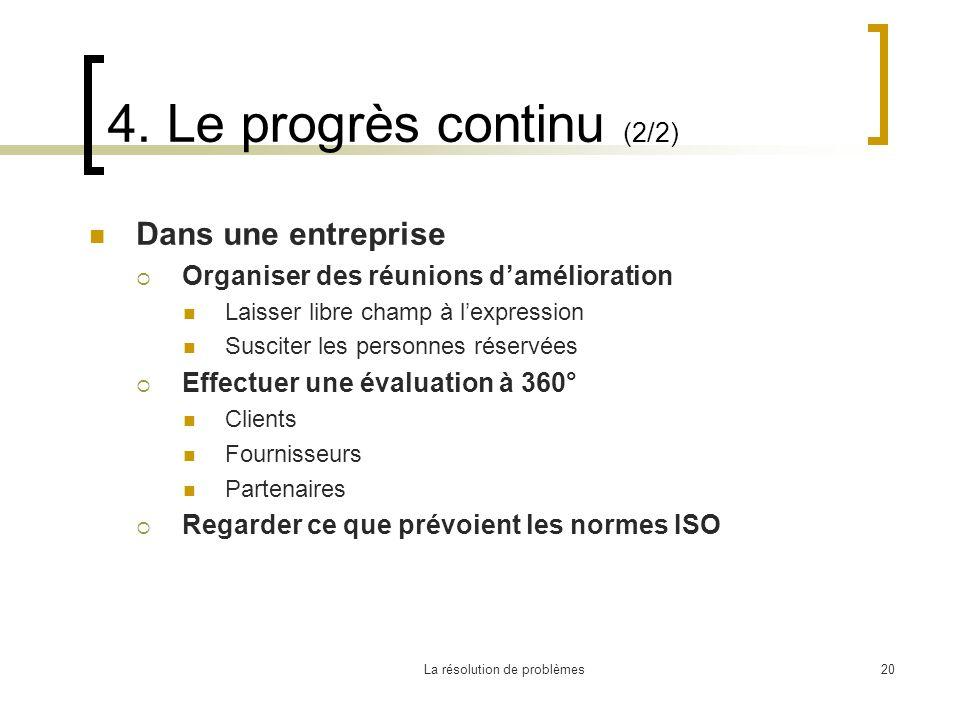 La résolution de problèmes20 4. Le progrès continu (2/2) Dans une entreprise Organiser des réunions damélioration Laisser libre champ à lexpression Su