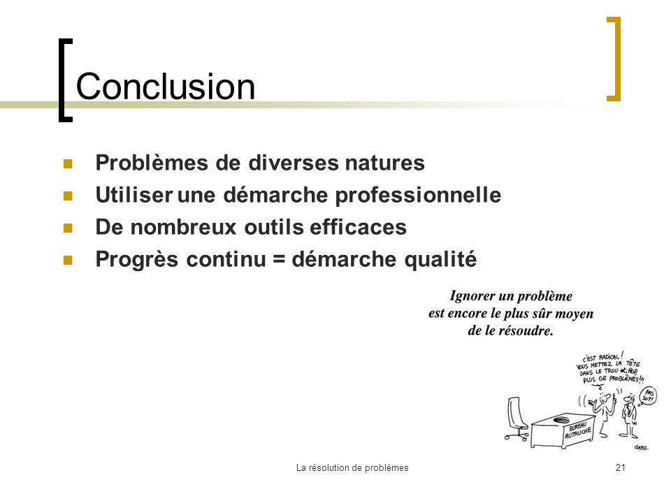 La résolution de problèmes21 Conclusion Problèmes de diverses natures Utiliser une démarche professionnelle De nombreux outils efficaces Progrès conti