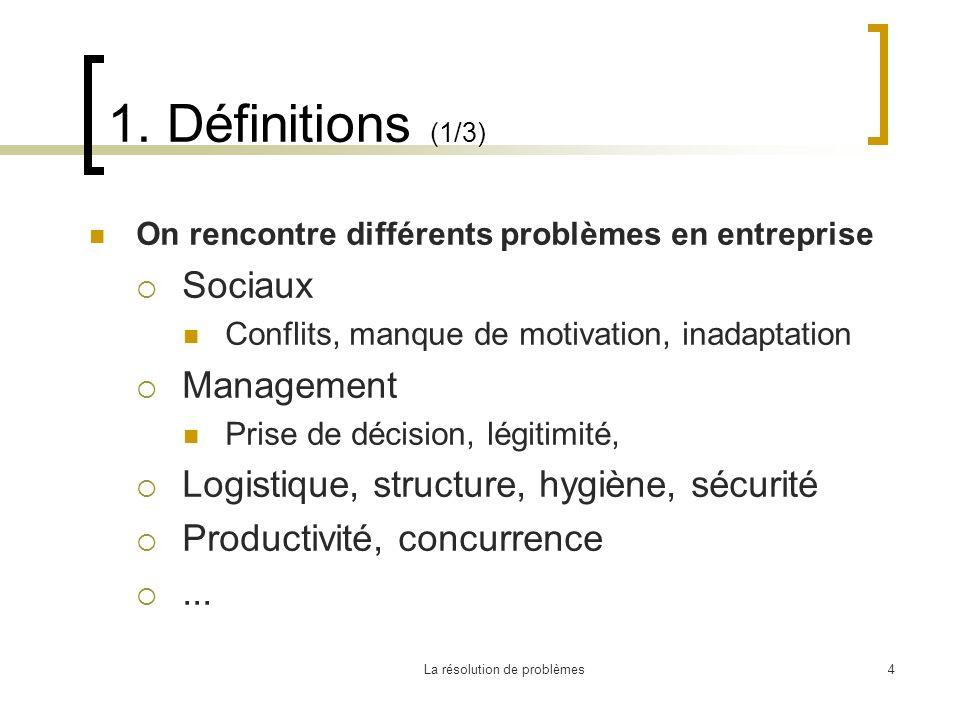 La résolution de problèmes4 1. Définitions (1/3) On rencontre différents problèmes en entreprise Sociaux Conflits, manque de motivation, inadaptation