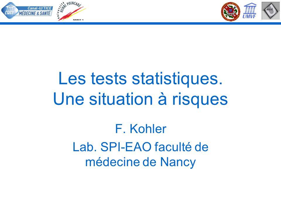 Les tests statistiques. Une situation à risques F. Kohler Lab. SPI-EAO faculté de médecine de Nancy