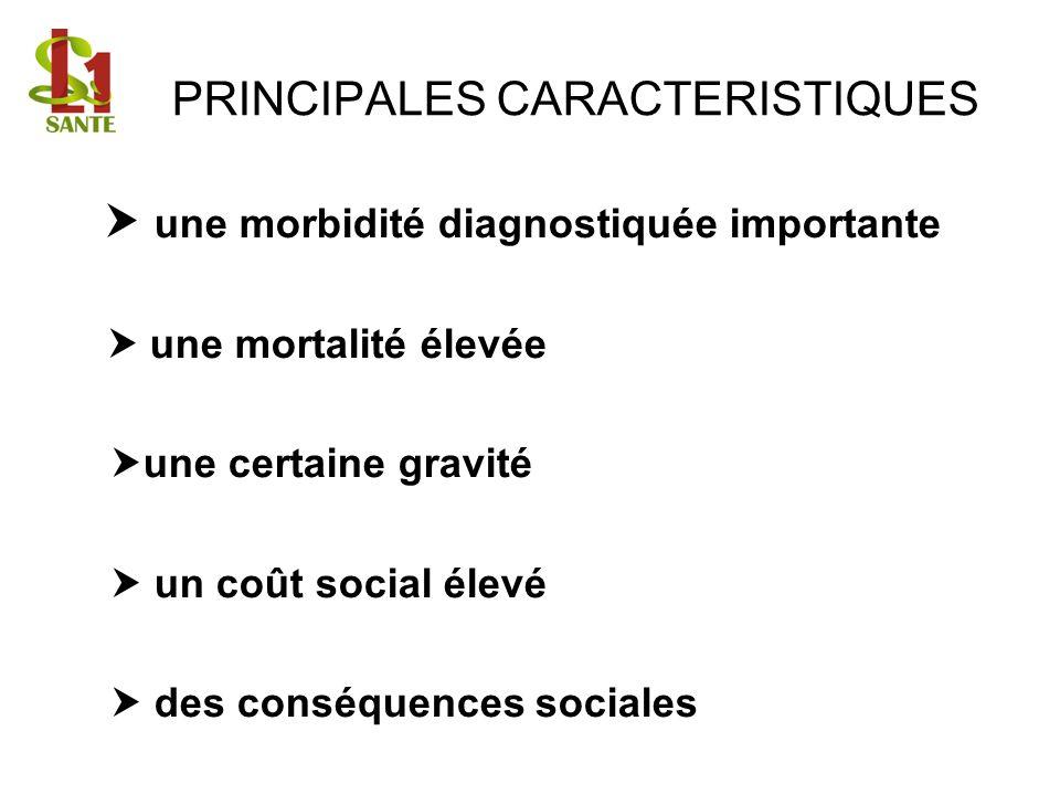 PRINCIPALES CARACTERISTIQUES une morbidité diagnostiquée importante une mortalité élevée une certaine gravité un coût social élevé des conséquences so