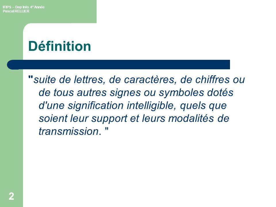IFIPS – Dep Info 4° Année Pascal RELLIER 2 Définition suite de lettres, de caractères, de chiffres ou de tous autres signes ou symboles dotés d une signification intelligible, quels que soient leur support et leurs modalités de transmission.