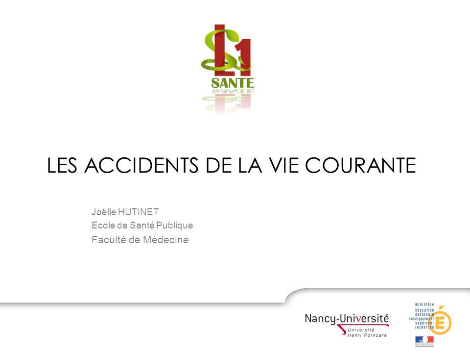 LES ACCIDENTS DE LA VIE COURANTE Joëlle HUTINET Ecole de Santé Publique Faculté de Médecine