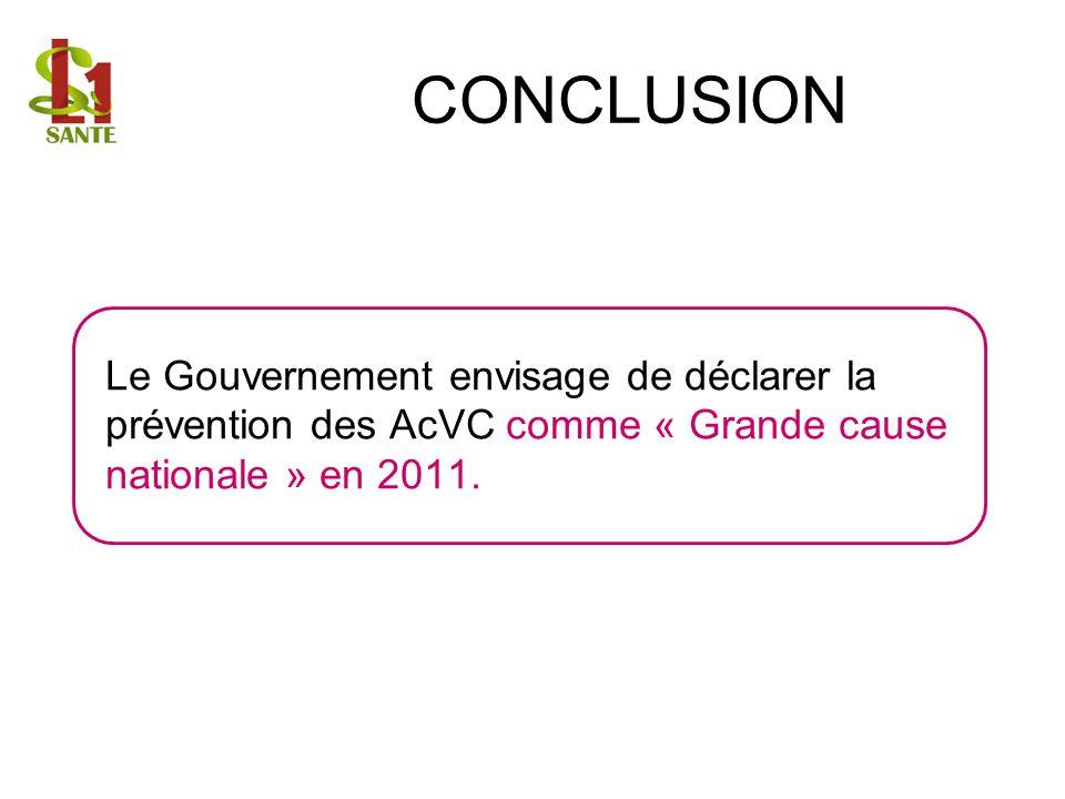 Le Gouvernement envisage de déclarer la prévention des AcVC comme « Grande cause nationale » en 2011.