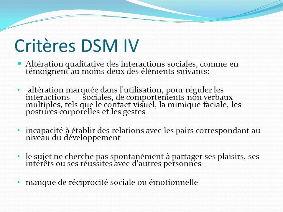 Critères DSM IV Altération qualitative des interactions sociales, comme en témoignent au moins deux des éléments suivants: altération marquée dans l'u
