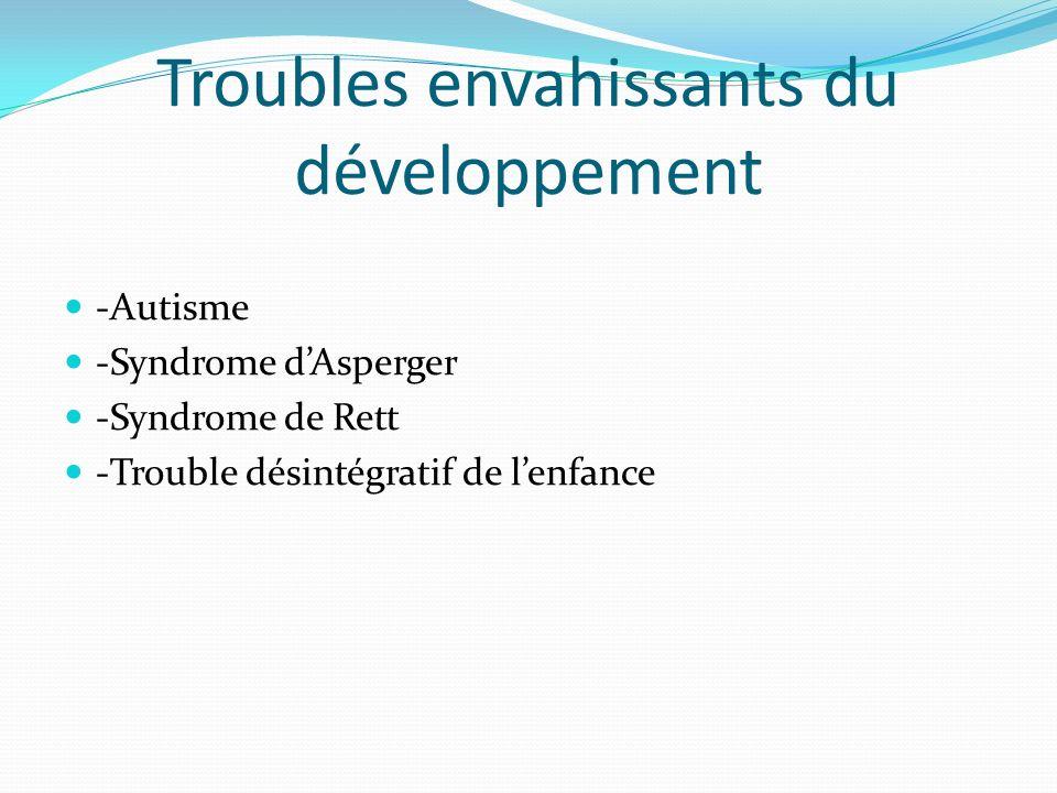 Troubles envahissants du développement -Autisme -Syndrome dAsperger -Syndrome de Rett -Trouble désintégratif de lenfance