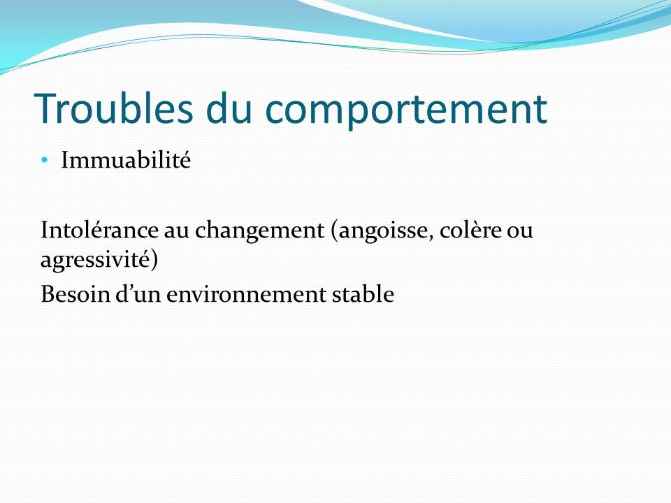Troubles du comportement Immuabilité Intolérance au changement (angoisse, colère ou agressivité) Besoin dun environnement stable
