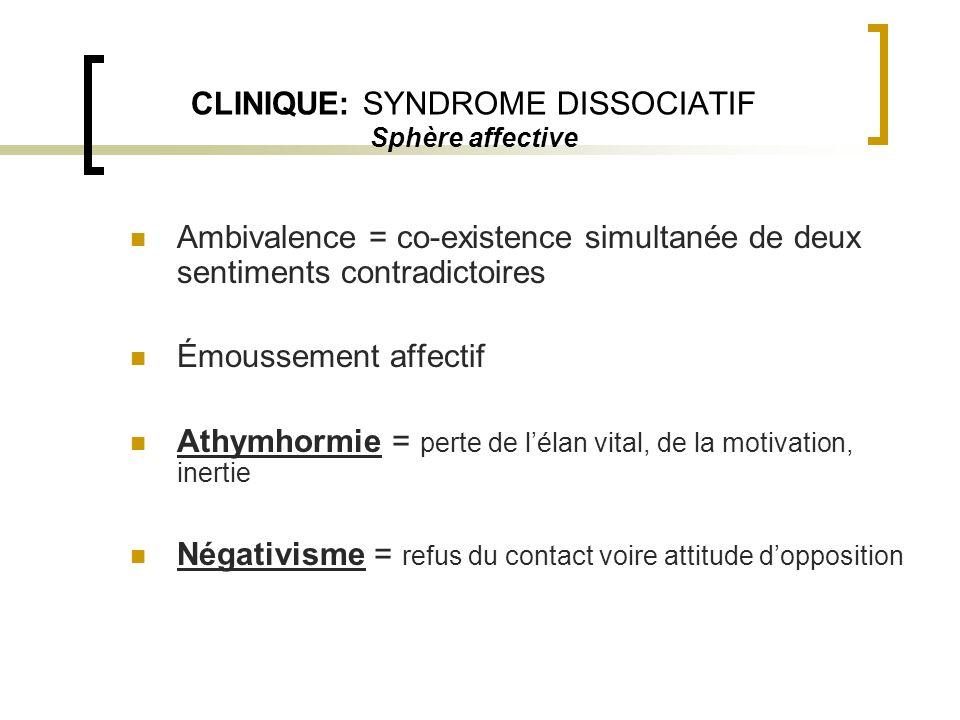 CLINIQUE: SYNDROME DISSOCIATIF Sphère affective Ambivalence = co-existence simultanée de deux sentiments contradictoires Émoussement affectif Athymhor
