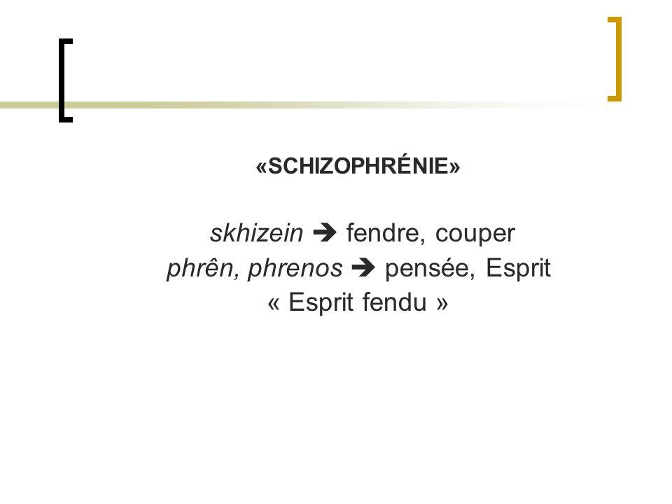 «SCHIZOPHRÉNIE» skhizein fendre, couper phrên, phrenos pensée, Esprit « Esprit fendu »
