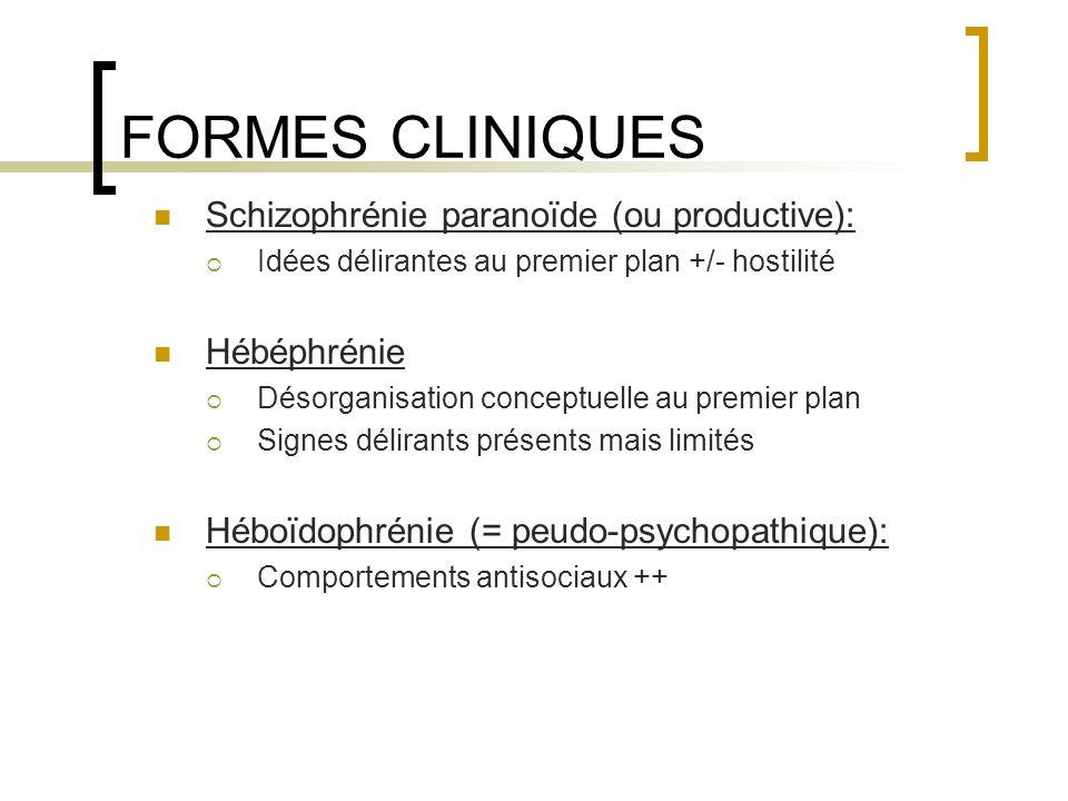 FORMES CLINIQUES Schizophrénie paranoïde (ou productive): Idées délirantes au premier plan +/- hostilité Hébéphrénie Désorganisation conceptuelle au p