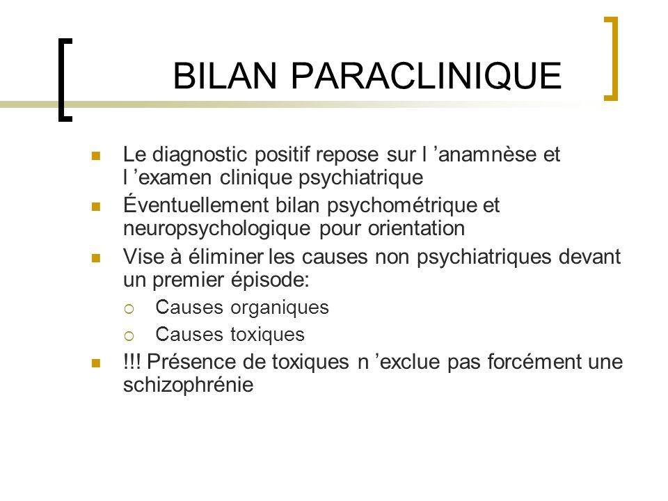 BILAN PARACLINIQUE Le diagnostic positif repose sur l anamnèse et l examen clinique psychiatrique Éventuellement bilan psychométrique et neuropsycholo