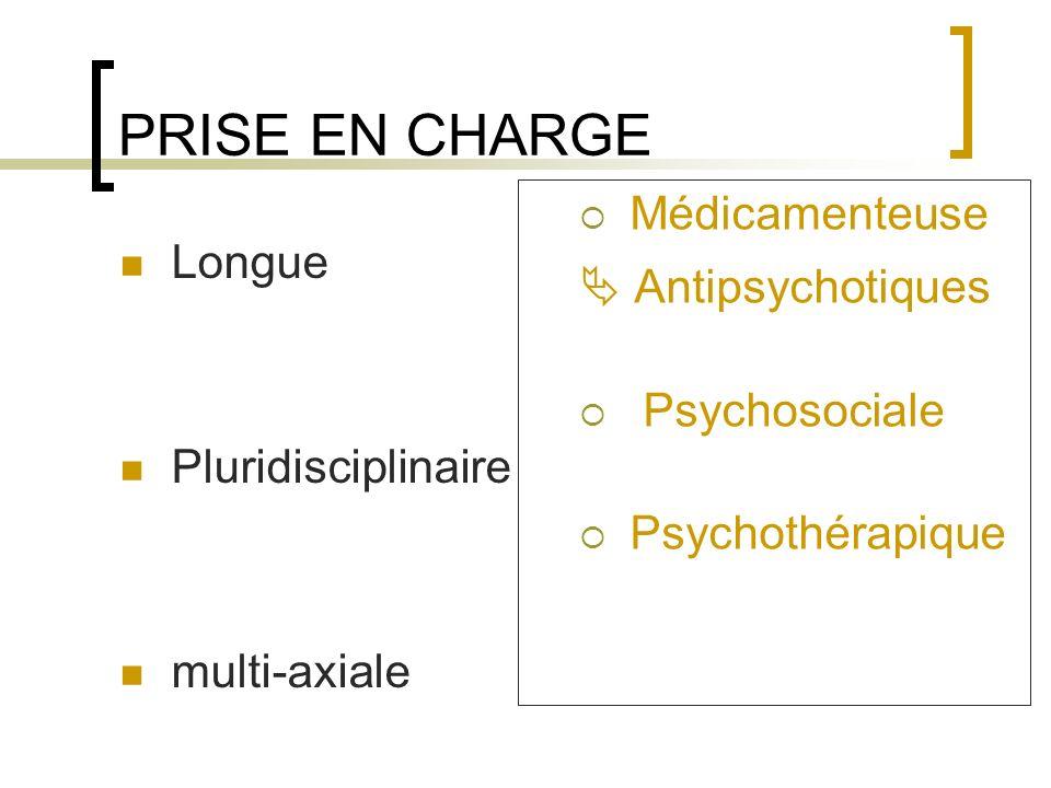 PRISE EN CHARGE Longue Pluridisciplinaire multi-axiale Médicamenteuse Antipsychotiques Psychosociale Psychothérapique