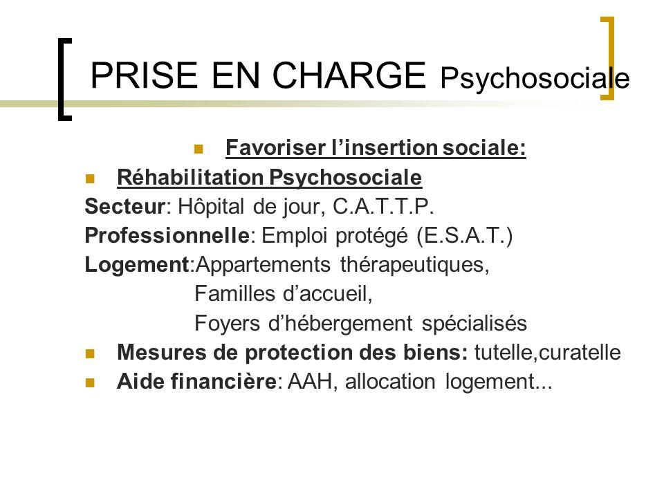 PRISE EN CHARGE Psychosociale Favoriser linsertion sociale: Réhabilitation Psychosociale Secteur: Hôpital de jour, C.A.T.T.P. Professionnelle: Emploi