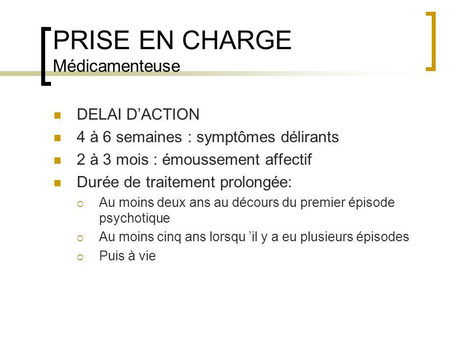 PRISE EN CHARGE Médicamenteuse DELAI DACTION 4 à 6 semaines : symptômes délirants 2 à 3 mois : émoussement affectif Durée de traitement prolongée: Au
