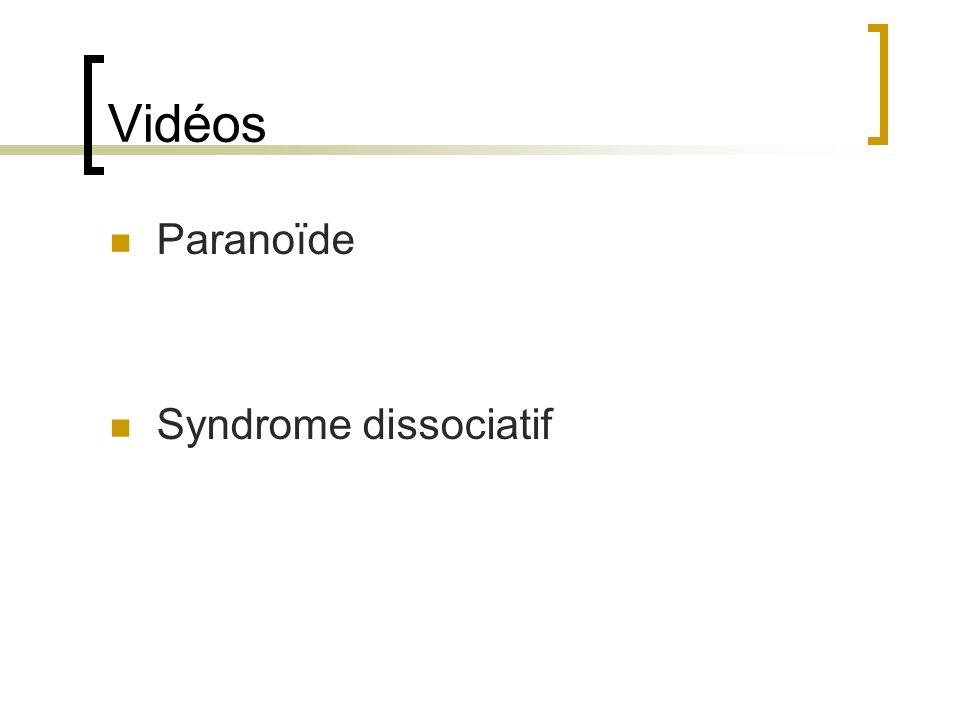Vidéos Paranoïde Syndrome dissociatif