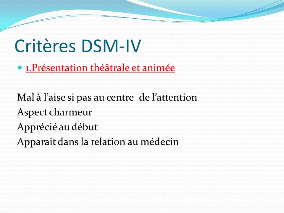 Critères DSM-IV 1.Présentation théâtrale et animée Mal à laise si pas au centre de lattention Aspect charmeur Apprécié au début Apparait dans la relat