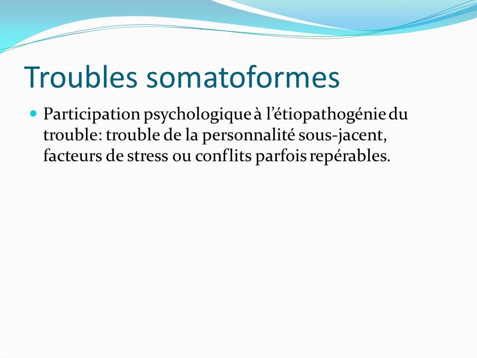 Troubles somatoformes Participation psychologique à létiopathogénie du trouble: trouble de la personnalité sous-jacent, facteurs de stress ou conflits