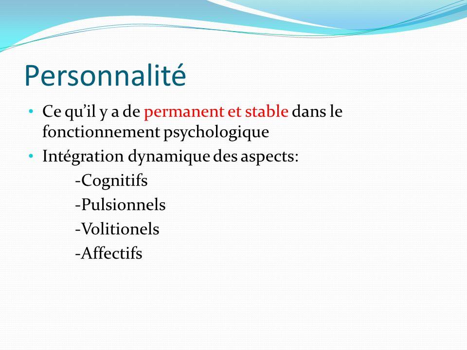 Personnalité Ce quil y a de permanent et stable dans le fonctionnement psychologique Intégration dynamique des aspects: -Cognitifs -Pulsionnels -Volit