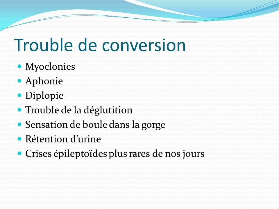 Trouble de conversion Myoclonies Aphonie Diplopie Trouble de la déglutition Sensation de boule dans la gorge Rétention durine Crises épileptoïdes plus