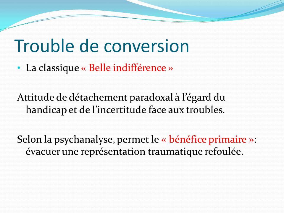 Trouble de conversion La classique « Belle indifférence » Attitude de détachement paradoxal à légard du handicap et de lincertitude face aux troubles.