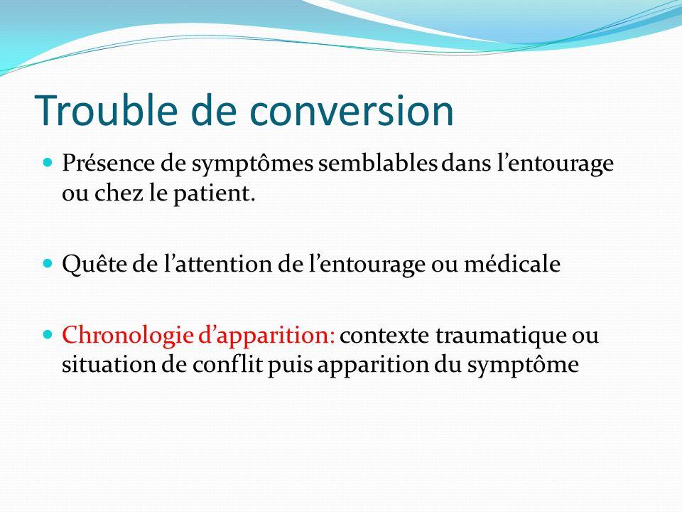 Trouble de conversion Présence de symptômes semblables dans lentourage ou chez le patient. Quête de lattention de lentourage ou médicale Chronologie d