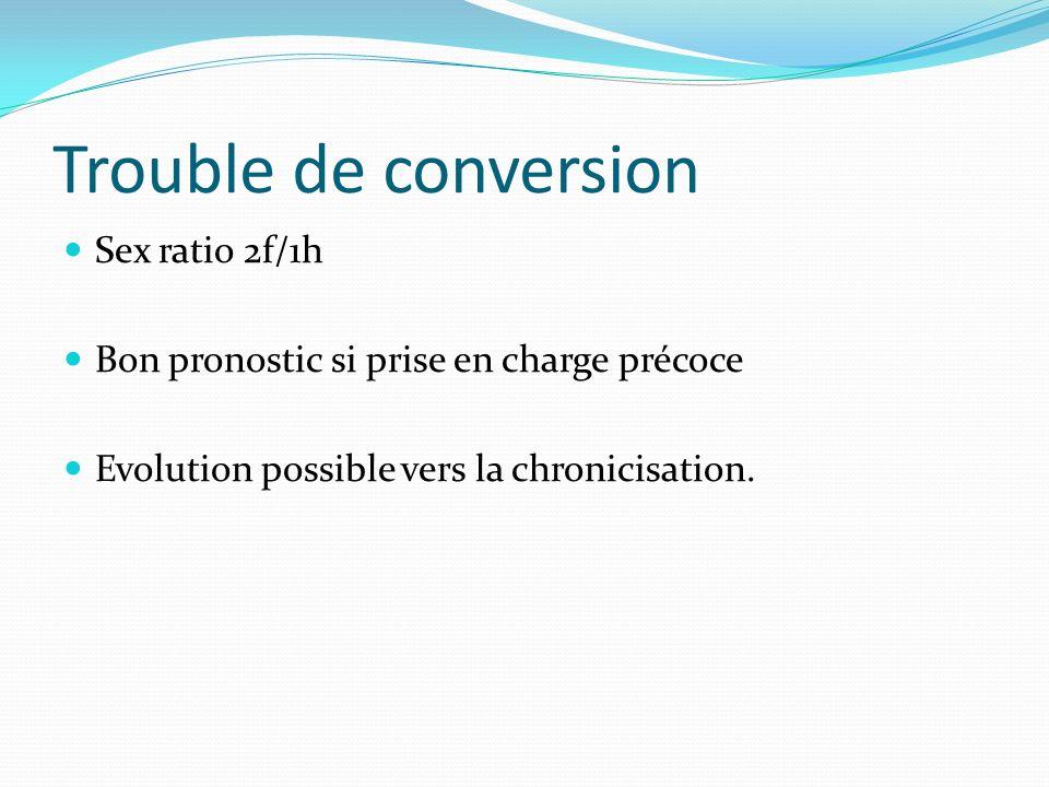 Trouble de conversion Sex ratio 2f/1h Bon pronostic si prise en charge précoce Evolution possible vers la chronicisation.