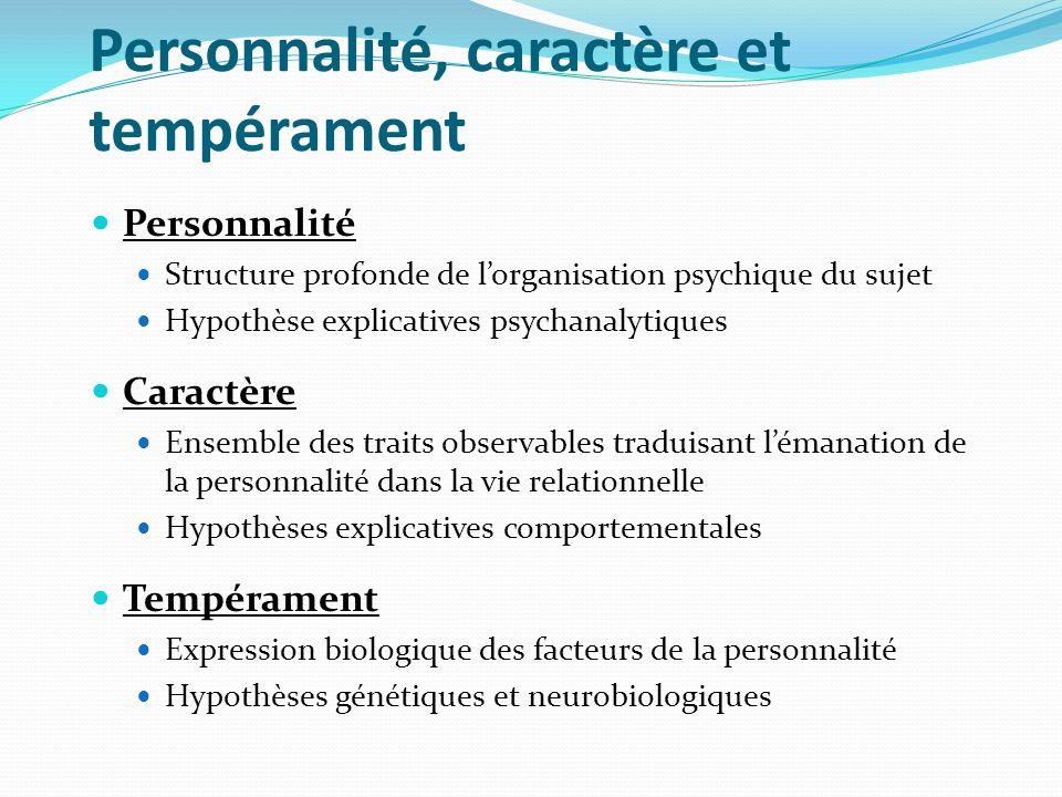 Personnalité, caractère et tempérament Personnalité Structure profonde de lorganisation psychique du sujet Hypothèse explicatives psychanalytiques Car