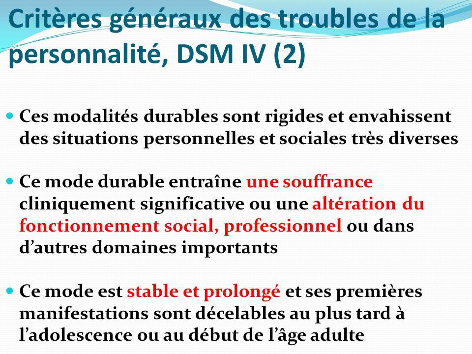 Critères généraux des troubles de la personnalité, DSM IV (3) Ce tableau nest pas mieux expliqué par les manifestations ou les conséquences dun autre trouble mental Ce mode durable nest pas dû aux effets physiologiques directs dune substance (p.