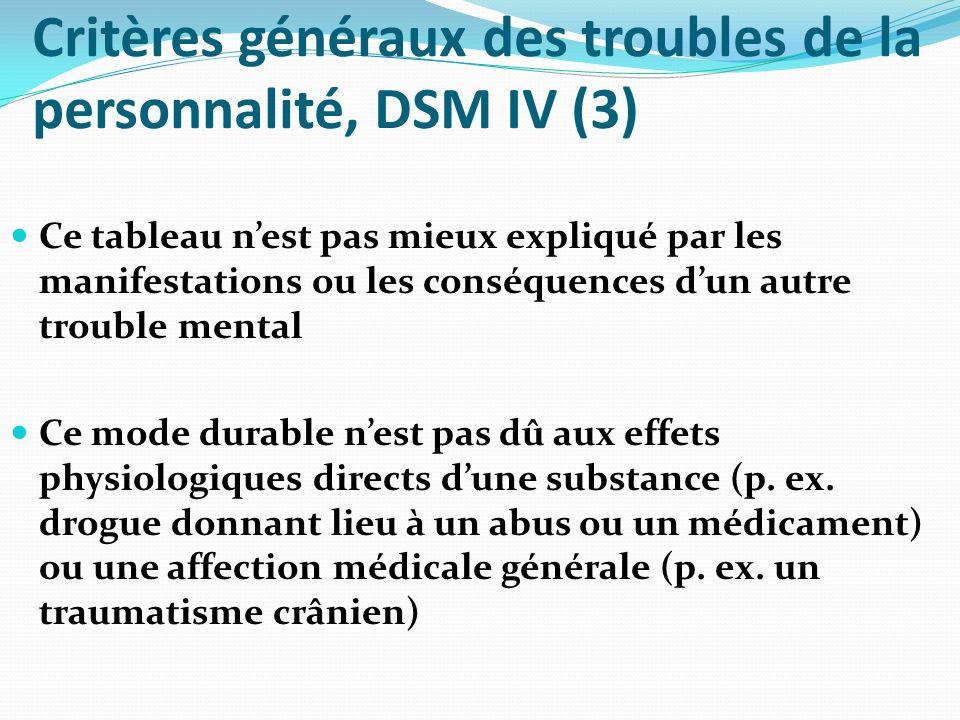 Critères généraux des troubles de la personnalité, DSM IV (3) Cluster A Personnalités du registre psychotique : Personnalité paranoïaque – F 60.0 [301.0] Personnalité schizoïde – F 60.1 [301.20] Personnalité schizotypique – F 21.1 [301.22]