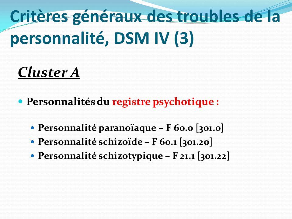 Critères généraux des troubles de la personnalité, DSM IV (4) Cluster B Troubles du caractère marqués par lextraversion : Personnalité antisociale – F 60.2 [301.7] Personnalité borderline – F 60.31 [301.83] Personnalité histrionique – F 60.4 [301.50] Personnalité narcissique – F 60.8 [301.81]
