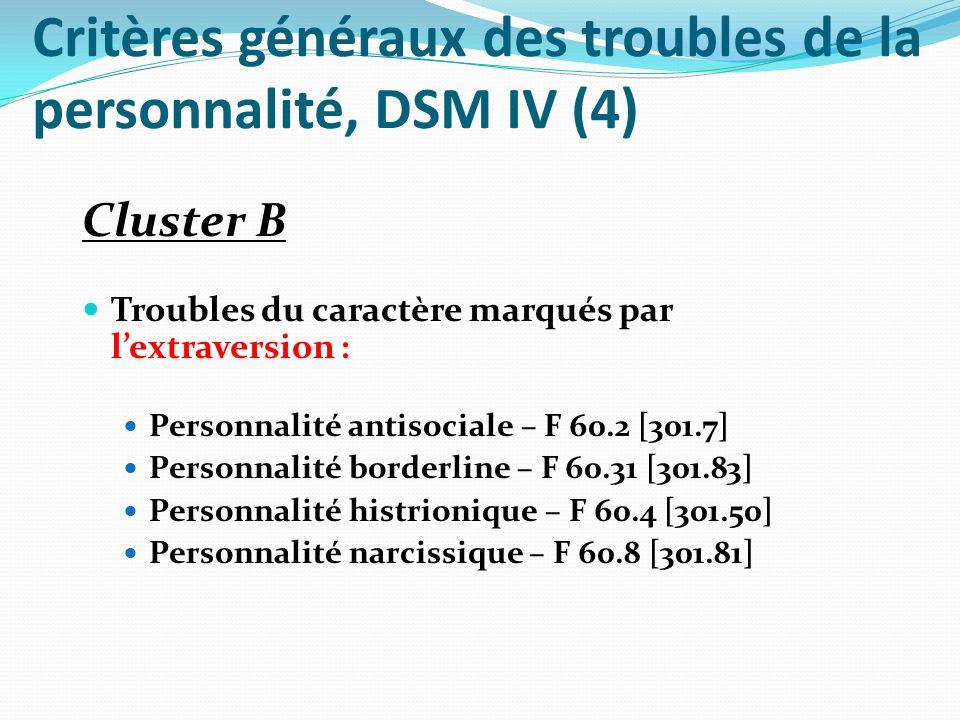 Critères généraux des troubles de la personnalité, DSM IV (5) Cluster C Trouble de la personnalité caractérisé par linhibition et lanxiété : Personnalité évitante – F 60.6 [301.82] Personnalité dépendante – F 60.7 [301.6] Personnalité obsessionnelle-compulsive – F 60.5 [301.4] Troubles de la personnalité non spécifié – F 60.9 [301.9]