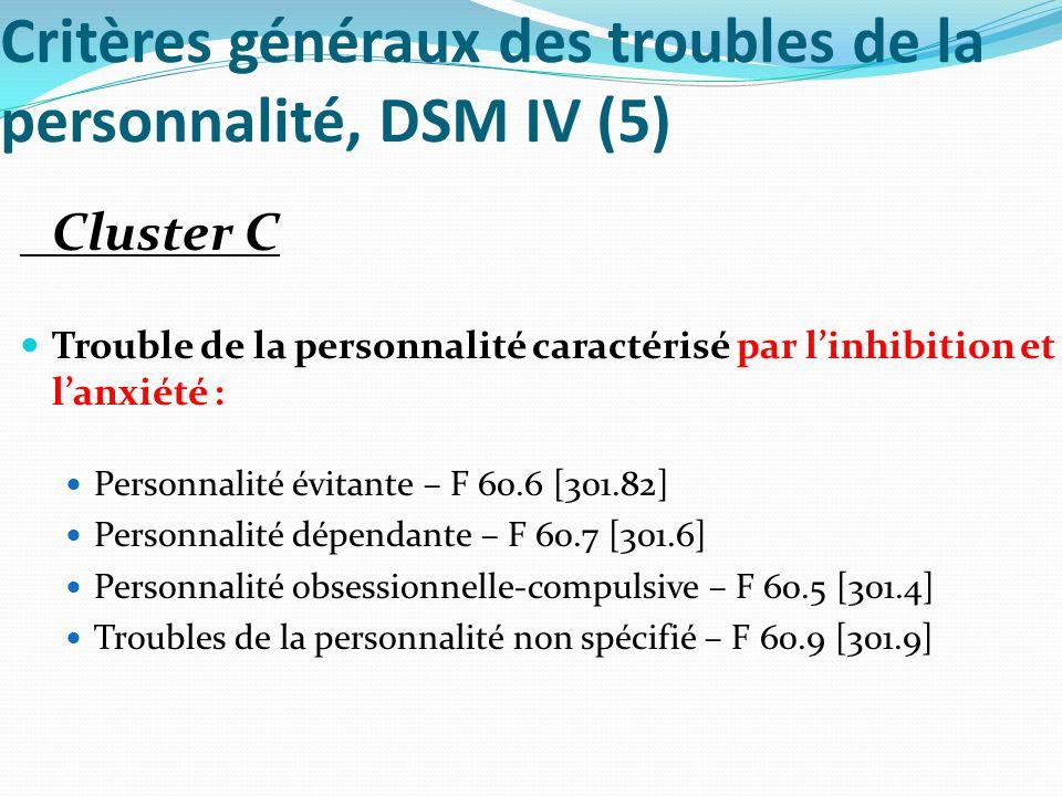 Critères généraux des troubles de la personnalité, DSM IV (5) Cluster C Trouble de la personnalité caractérisé par linhibition et lanxiété : Personnal