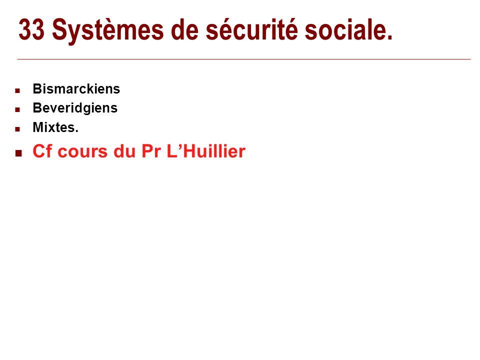 33 Systèmes de sécurité sociale. Bismarckiens Beveridgiens Mixtes. Cf cours du Pr LHuillier