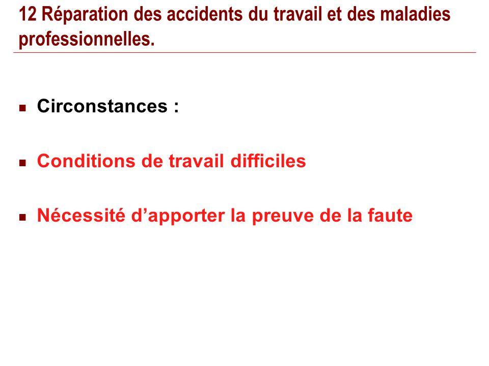 22/02/201416 12 Réparation des accidents du travail et des maladies professionnelles.