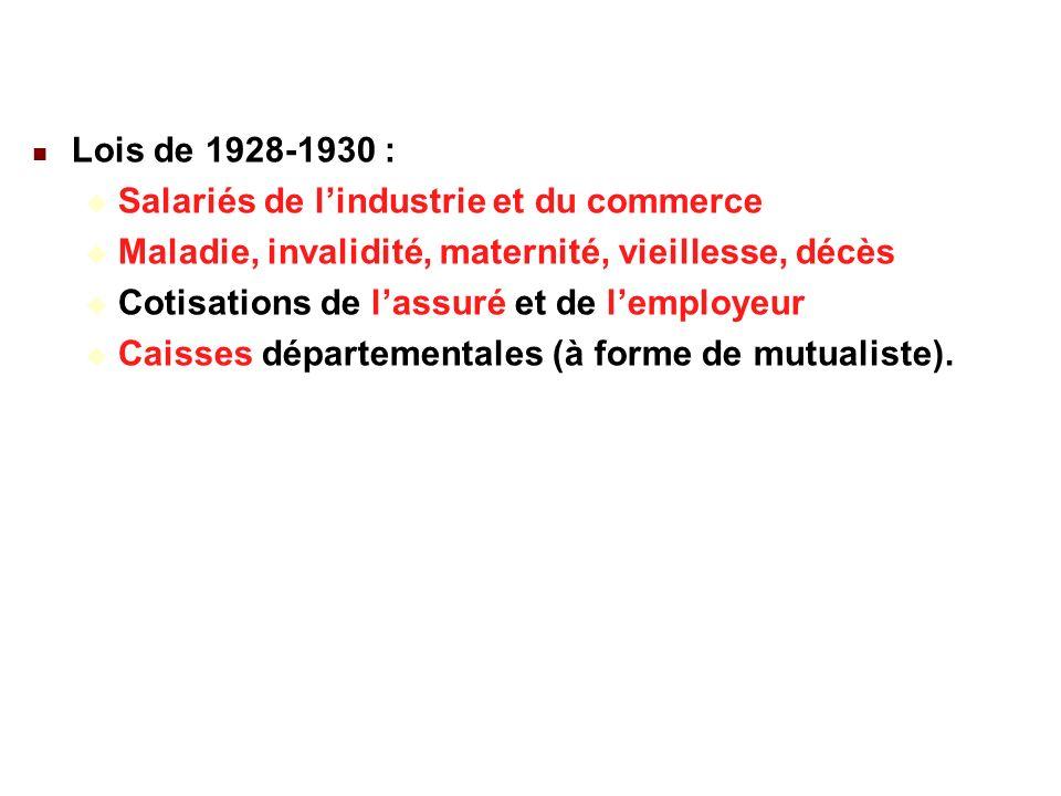 22/02/201427 Lois de 1928-1930 : Salariés de lindustrie et du commerce Maladie, invalidité, maternité, vieillesse, décès Cotisations de lassuré et de lemployeur Caisses départementales (à forme de mutualiste).