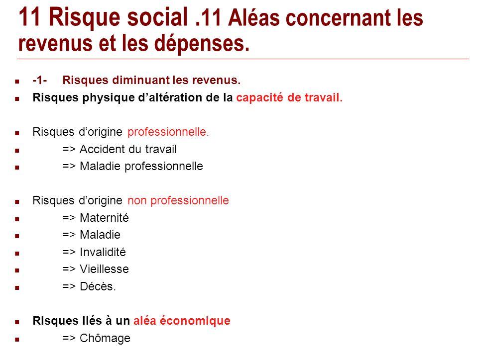 11 Risque social. 11 Aléas concernant les revenus et les dépenses.
