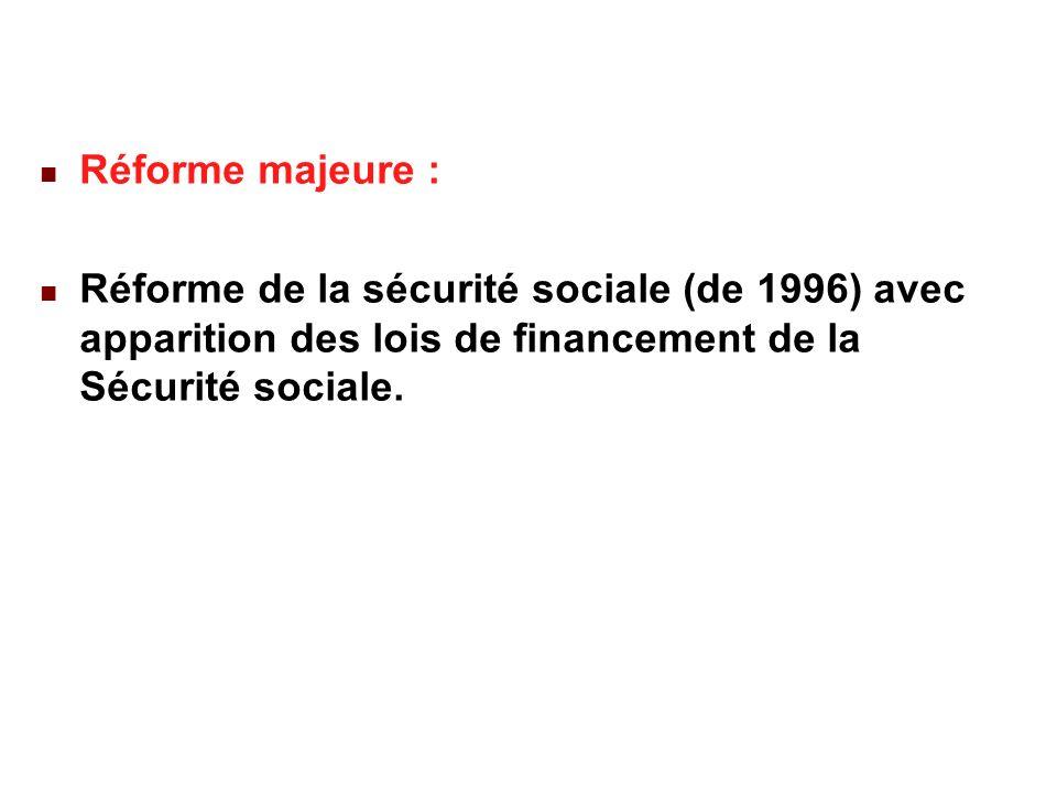 22/02/201439 Réforme majeure : Réforme de la sécurité sociale (de 1996) avec apparition des lois de financement de la Sécurité sociale.