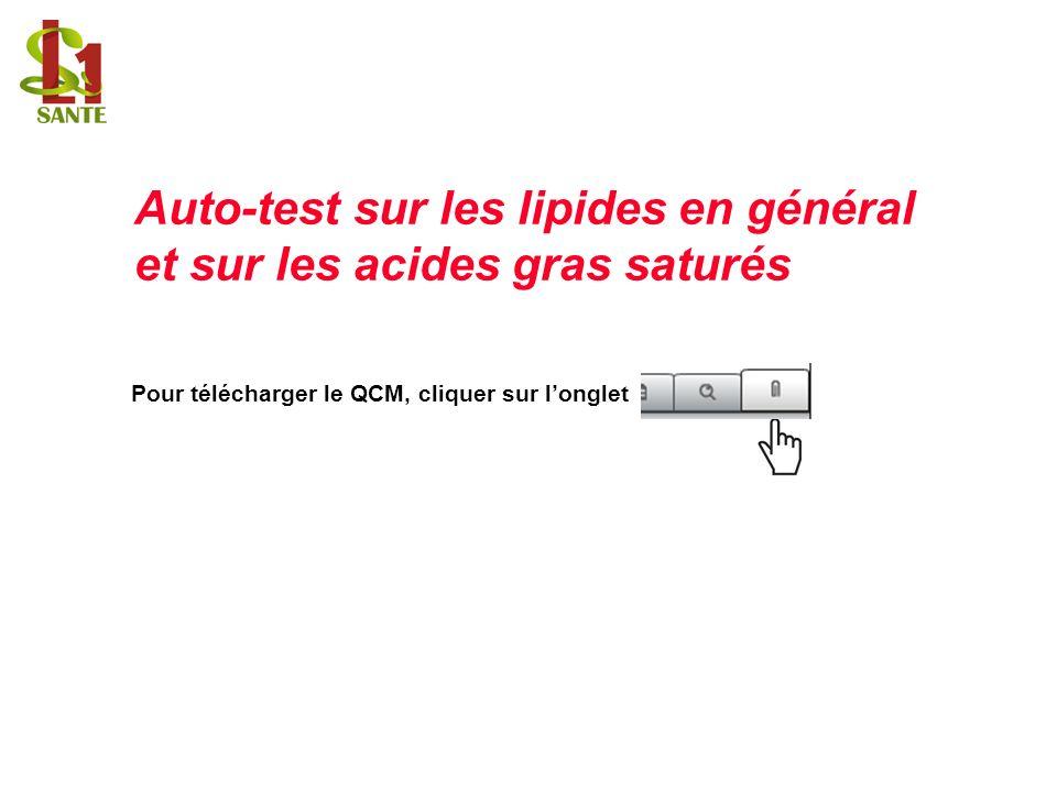 Pour télécharger le QCM, cliquer sur longlet Auto-test sur les lipides en général et sur les acides gras saturés