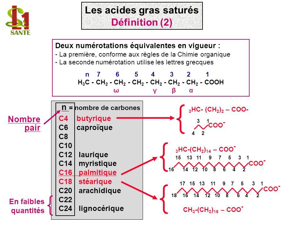 C4 butyrique C6 caproïque C8 C10 C12 laurique C14 myristique C16 palmitique C18 stéarique C20 arachidique C22 C24 lignocérique 3 HC- (CH 2 ) 2 – COO-